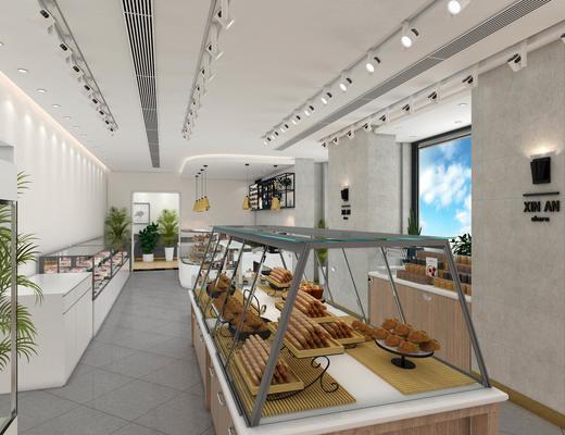西点, 烘焙, 店铺, 现代, 面包