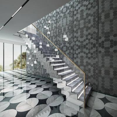 楼梯间, 吊灯, 墙饰