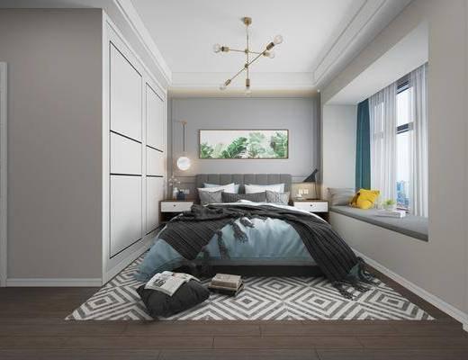 卧室, 双人床, ?#39184;?#26588;, 台灯, 植物画, 装饰画, 壁灯, 吊灯, 北欧