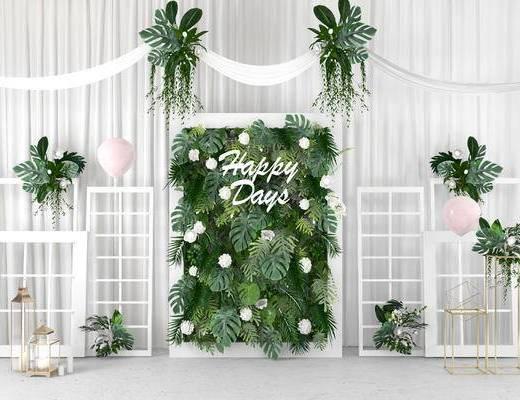 绿植墙, 主题婚礼, 合影区, 墙饰