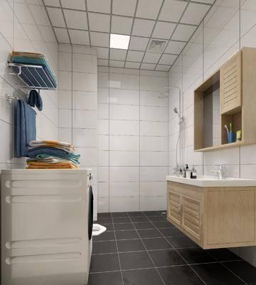 卫生间, 洗手台组合, 洗衣机, 现代