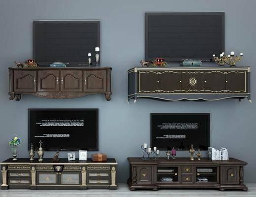 电视柜, 装饰柜, 摆件, 装饰品, 陈设品, 边柜, 欧式