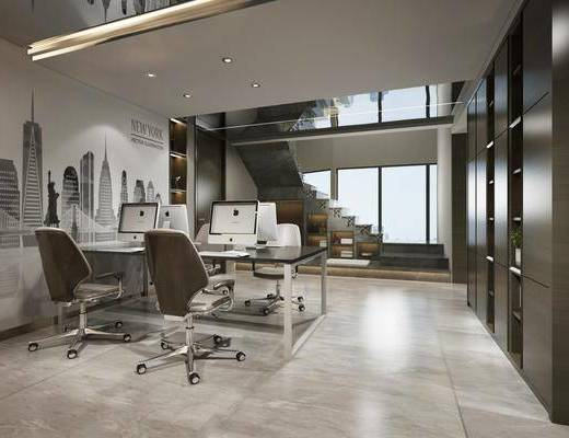 办公室, 办公桌, 电脑桌, 办公椅, 单人椅, 楼梯, 现代