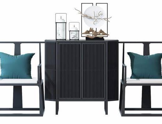 单椅, 边柜, 装饰柜, 椅子, 摆件, 装饰品, 瓷器, 新中式