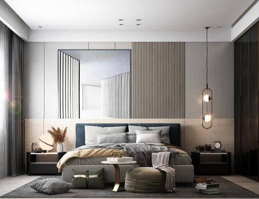 现代卧室, 双人床, 床头柜, 抱枕