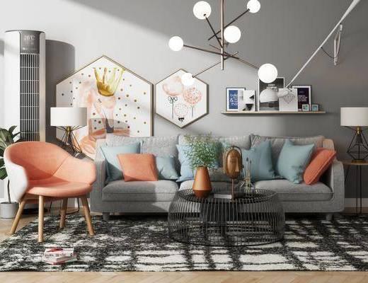 北欧沙发茶几组合, 北欧沙发, 北欧, 沙发, 椅子, 茶几, 装饰柜, 空调, 现代吊灯