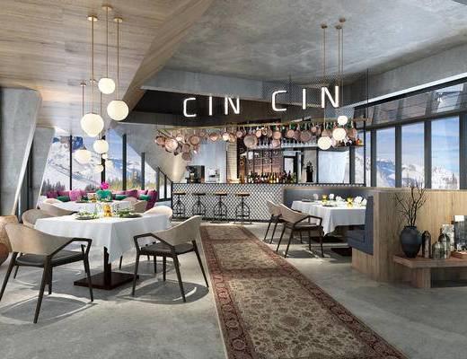 现代酒店餐厅, 餐桌椅, 摆件, 吊灯, 吧台