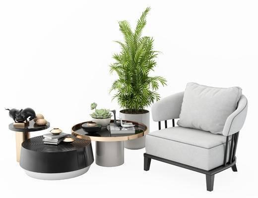 单椅, 沙发椅, 茶几, 植物