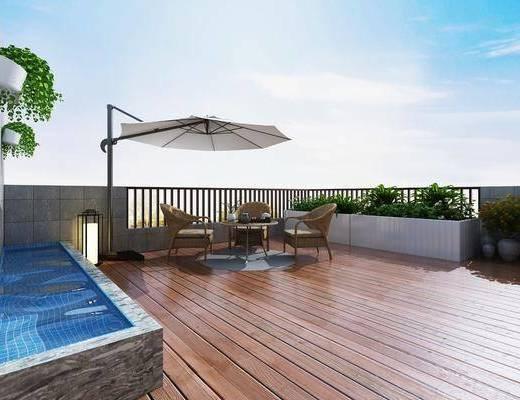 阳光露台, 阳光房顶, 室外盆栽, 室外水池