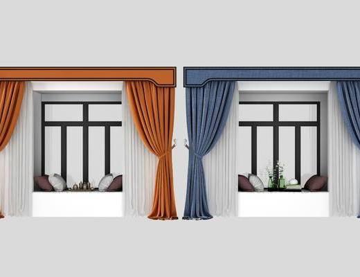 飄窗, 窗簾組合, 現代