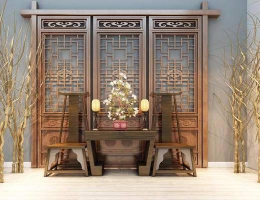 桌子, 椅子, 干支, 隔断, 屏风, 单椅, 茶几, 茶具, 摆件, 装饰品, 中式