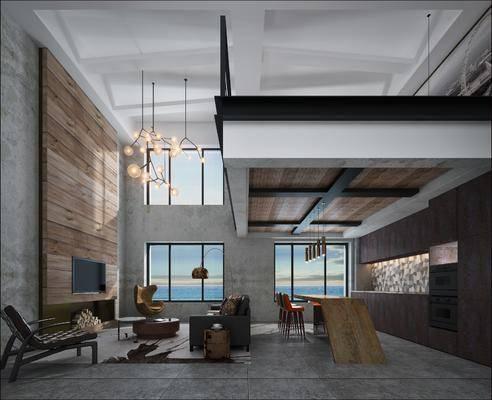 公寓, 客厅, 餐厅, 落地灯, 边几, 单人沙发, 茶几, 单人椅, 吊灯, 吧台, 吧椅, 双人床, 床头柜, 装饰柜, 边柜, 现代简约