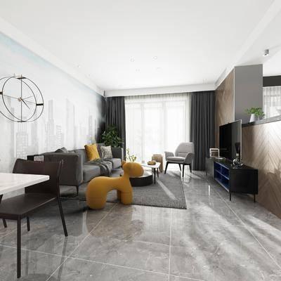 现代, 客餐厅, 多人沙发, 单人沙发, 茶几, 电视柜, 盘栽, 餐桌椅