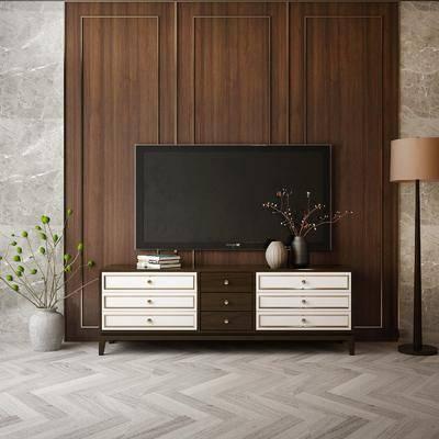 电视柜, 摆件组合, 落地灯, 盆栽植物