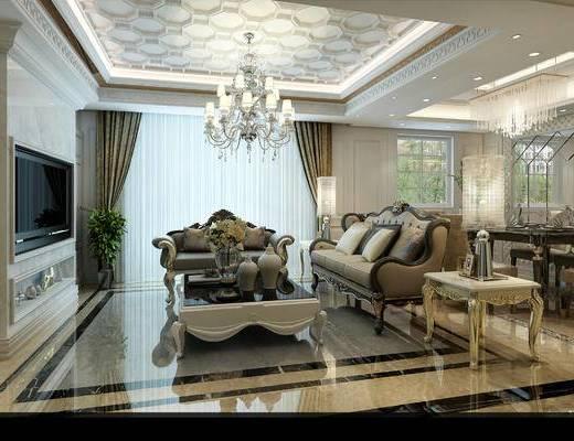 新古典客厅, 客厅, 沙发组合, 古典沙发, 沙发茶几, 吊灯