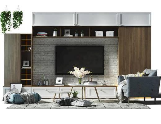 沙发组合, 沙发, 茶几, 单椅, 电视墙, 植物, 盆栽, 置物架, 摆件, 装饰品, 地毯, 抱枕, 花卉