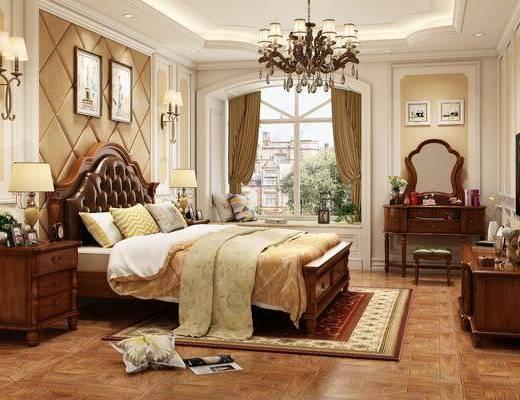 单人床, 吊灯, 装饰画, 床头柜, 台灯, 壁灯, 电视柜, 摆件组合