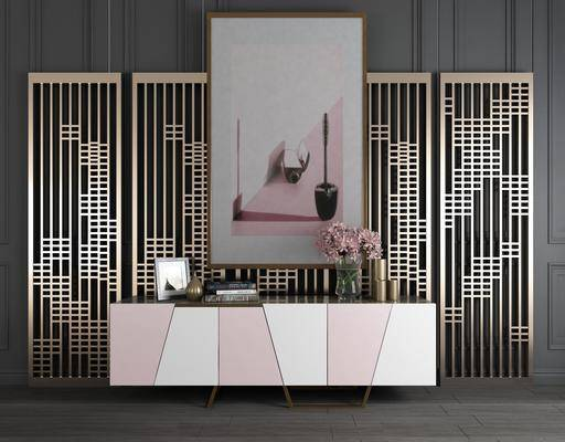 金属屏风, 屏风组合, 装饰画, 挂画, 边柜, 摆件, 装饰品, 陈设品, 摆件组合, 现代