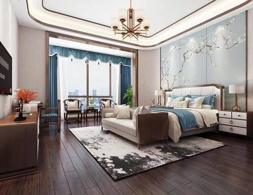臥室, 床具組合, 邊柜組合, 擺件組合, 單人椅, 臺燈, 吊燈, 新中式