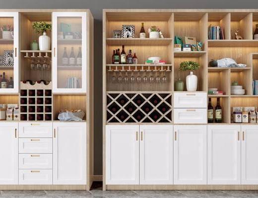 酒柜组合, 酒瓶, 装饰柜, 北欧