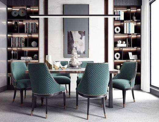 桌椅組合, 裝飾畫, 吊燈, 裝飾柜