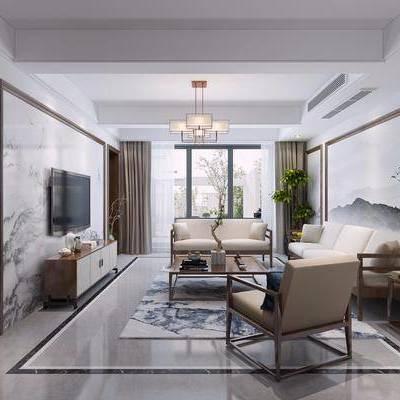 新中式客厅, 中式客厅, 客餐厅, 沙发组合, 中式沙发, 沙发茶几组合, 餐桌椅, 桌椅组合