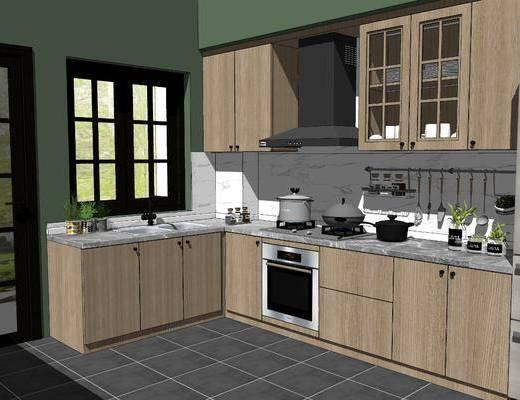 橱柜组合, 厨具组合, 厨房用品, 餐具组合