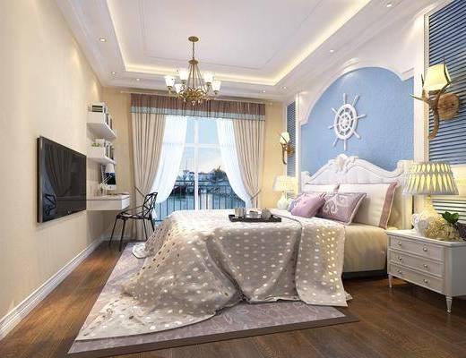 地中海, 卧室, 边柜, 台灯, 双人床, 椅子, 壁灯, 墙饰, 地毯, 吊灯