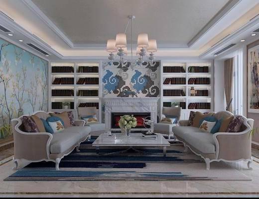 欧式沙发组合, 多人沙发, 吊灯, 茶几, 书架, 沙发凳, 双人沙发, 欧式