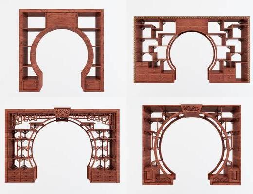 中式弧形门洞, 屏风门洞, 隔断门洞, 柜子