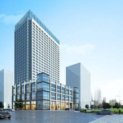 现代建筑, 现代, 办公楼, 建筑, 树, 车, 人物