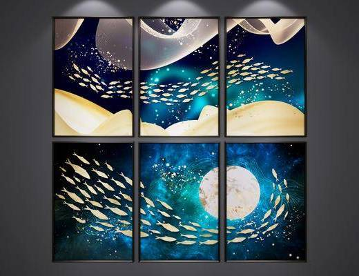 装饰画, 挂画, 组合画, 艺术画, 抽象画, 新中式