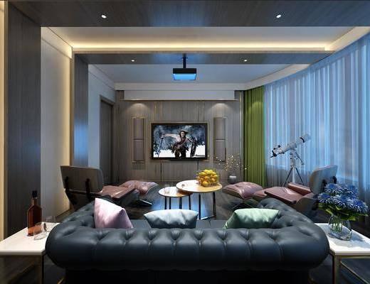 影音室, 沙发组合, 沙发茶几组合, 现代