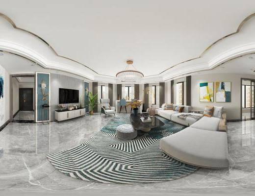 客廳, 餐廳, 沙發組合, 家裝全景, 沙發茶幾組合, 邊柜組合, 擺件組合, 餐桌椅組合, 餐具組合, 酒柜組合, 裝飾品組合, 現代輕奢