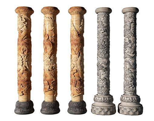 中式, 景觀柱, 單體