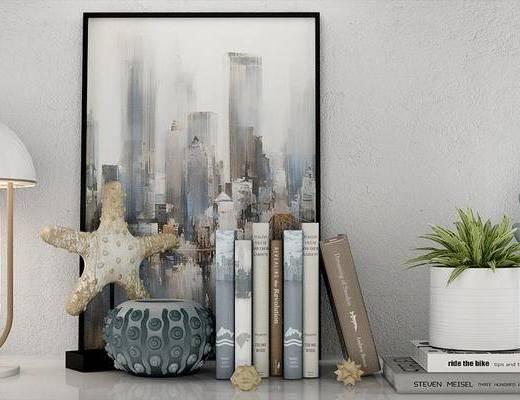 摆件组合, 书籍, 装饰画, 挂画, 盆栽, 台灯, 北欧