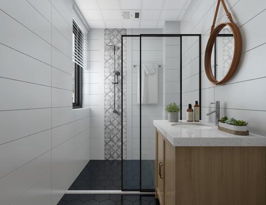 卫生间, 洗手台, 镜子, 淋浴间, 卫浴