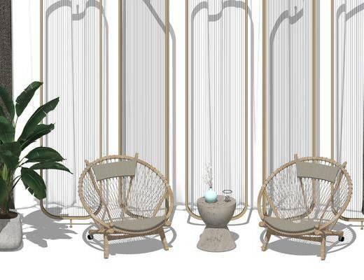 隔断, 盆栽, 单椅