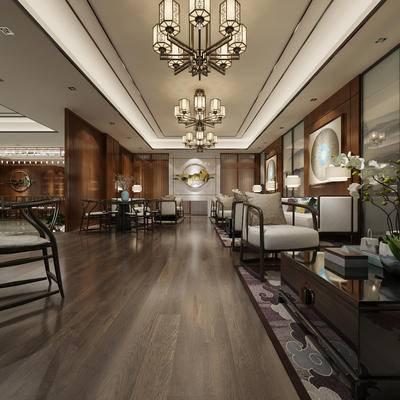 中式, 休息区, 洽谈区, 桌椅组合, 灯具