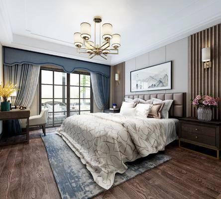单人床, 床头柜, 吊灯, 挂画, 壁灯, 梳妆台