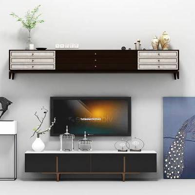 电视柜, 装饰画, 装饰架, 绿植, 挂画, 现代