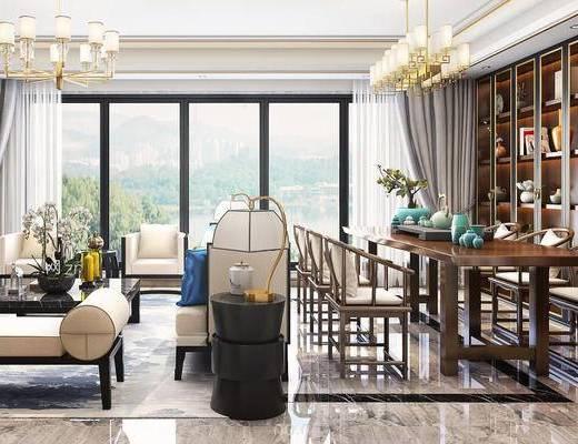 新中式, 新中式客厅, 沙发茶几组合, 盆栽摆件, 台灯