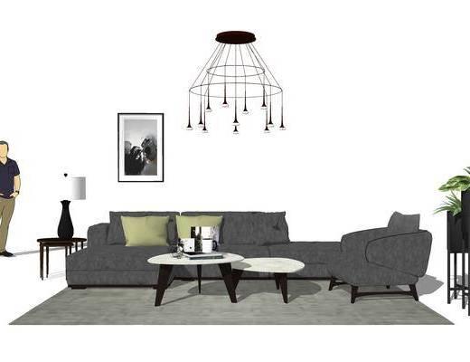 北歐沙發, 沙發組合, 現代盆栽, 現代吊燈, 北歐茶幾
