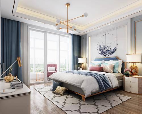 现代卧室, 床具, 双人床, 吊灯, 现代吊灯, 金属吊灯, 床头柜, 台灯, 梳妆台, 金属台灯