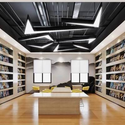 工业风, 现代, 书吧, 书柜, 书籍, 书本, 书桌, 椅子, 单椅, 管道