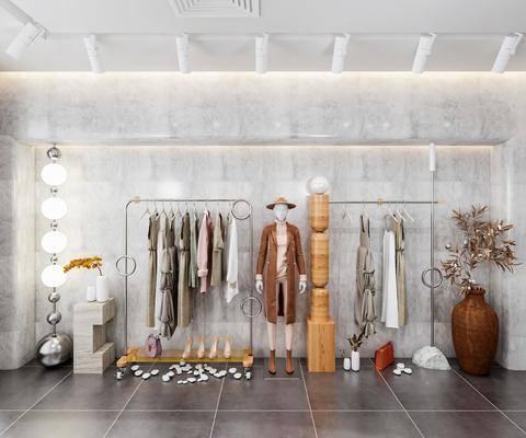 现代服装店服饰展架, 工装