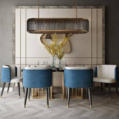 餐桌, 桌椅组合, 花瓶, 背景墙, 餐具组合