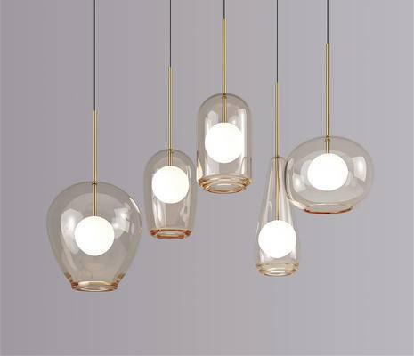 现代简约, 玻璃, 吊灯