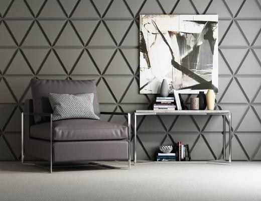 现代简约, 单人沙发, 简约沙发, 沙发茶几, 沙发组合