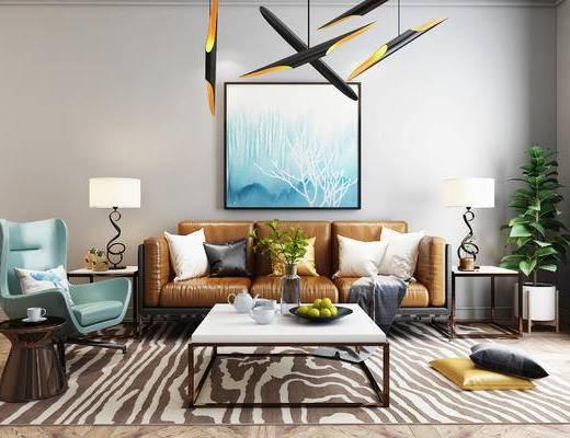 沙发, 沙发组合, 北欧沙发, 沙发茶几组合, 现代沙发